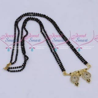 MS18261 Black Beads Mala 2 Strand AD Mangalsutra Traditional Jewellery Designs Online