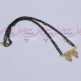 MS18263 Black Beads Mala 2 Strand AD Mangalsutra Traditional Jewellery Designs Online