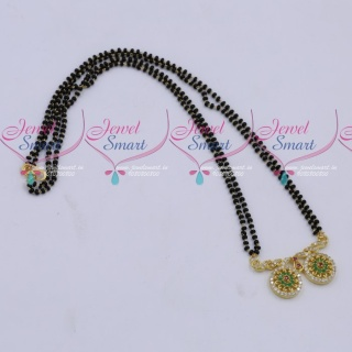 MS18266 Black Beads Mala 2 Strand AD Mangalsutra Traditional Jewellery Designs Online