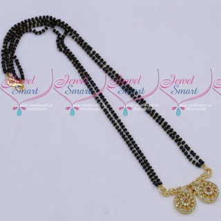 MS18267 Black Beads Mala 2 Strand AD Mangalsutra Traditional Jewellery Designs Online