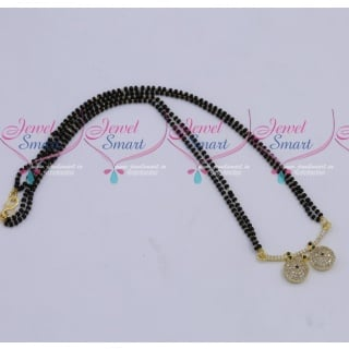 MS18270 Black Beads Mala 2 Strand AD Mangalsutra Traditional Jewellery Designs Online