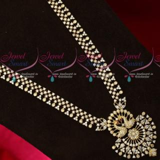 NL18621 Gold Plated White Stones Peacock Haram New Design Imitation Jewellery Set Online