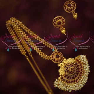 PS18394 Beautiful Antique Gold Plated Ghajiri Mala Handmade Chain Peacock Pearl Danglers Pendant