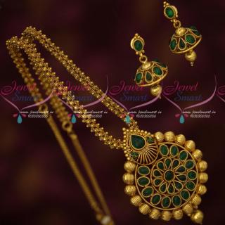 PS18400 Kemp Green Stones Antique Gold Plated Ghairi Mala Pendant Jhumka Set