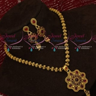 PS18535 Antique Kharbuja Beads Kemp Stones Pendant Low Price Jewellery Designs