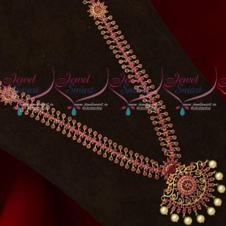 NL18618 Gold Plated Ruby Stones Haram New Design Imitation Jewellery Set Online