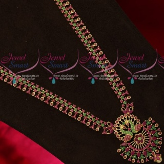 NL18622 Ruby Emerald Stones Long Necklace New Design Imitation Jewellery Online Store