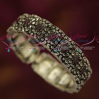 B18491 Blackish Silver Plated Watch Type Thick Kada Bracelet Ruby Stones