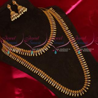 NL18782 Kerala Style Beads Design Short Long Combo Mini Bridal Jewellery Set Online