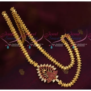 C16042 Ruby Peacock Mugappu Design Fancy Gold Covering South Chain Imitation Collections
