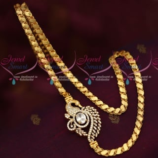 C16033 White AD Stones Mugappu Model Fancy Covering Chain South Indian Jewelry Online