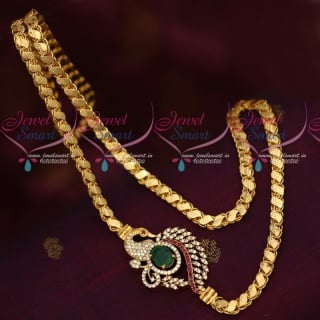 C16032 Multi AD Stones Mugappu Model Fancy Covering Chain South Indian Jewelry Online