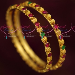 B19229 Real Kemp Stones Kharbuja Beads Traditional Gold Covering Casual Wear Jewellery Online