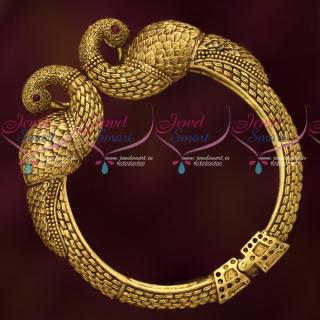 B19132 Antique Gold Finish Intricately Designed Open Kada Bracelets Imitation Jewellery Collections