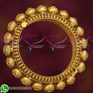 B19277 Antique Gold Plated Kemp Jewellery Intricately Designed Kada Screw Open