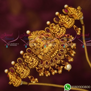 V19447R Temple Jewellery Matte Reddish Gold Plated Multi Purpose Bridal Collections