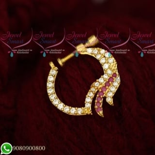 N19500 Fancy Ruby White Jewellery Nath Nose Pin Mookuthi Screw Lock Online