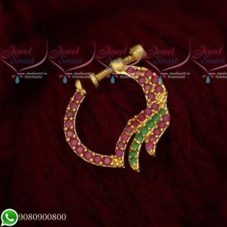 N19501 Fancy Design Ruby Emerald Jewellery Nath Nose Pin Mookuthi Screw Lock Online