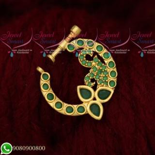 N19508 Nose Ring Designs Online Screw Lock Non Pierced AD Emerald Green Stones