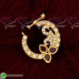N19510 Nose Ring Designs Ruby White Stones Online Screw Lock Non Pierced