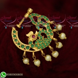 N19512 AD Emerald Stones Pearl Drops Gold Plated Jewellery Nose Rings Online