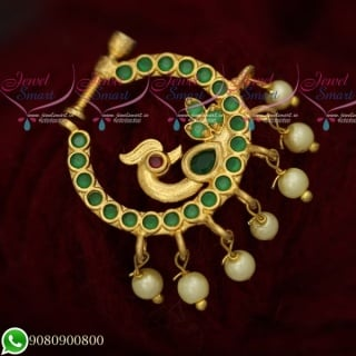 N19513 AD Gold Plated Jewellery Non Piercing Nose Pins Emerald Green Stones
