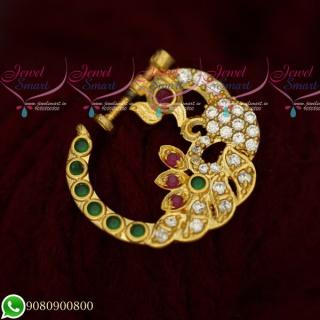 N19518 Peacock Design Nose Ring Online AD Multi Color Stones Non Piercing Screw Lock