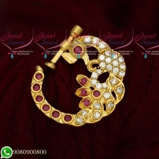 N19519 Peacock Design Nose Ring Online AD Ruby White Stones Non Piercing Screw Lock
