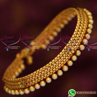 A19598 Anklets Matte Gold Plated Fashion Jewellery Latest Antique Finish Matching Accessory Online