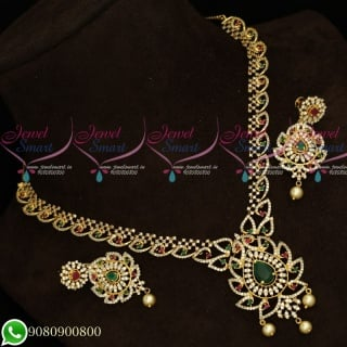 NL19634 Gold Plated AD Stones Jewellery Set Designs Latest Party Wear Collections Online