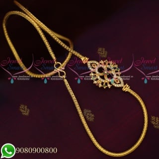 C19711 Gold Covering Floral Design Mugappu Roll Kodi Chain South Indian Jewellery Daily Wear Collecions Online