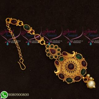 T19541 Kemp Stones Maang Tikka Designs Intricate Gold Finish Jewellery Accessory Online