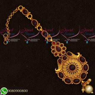 T19542 Kemp Stones Maang Tikka Designs Intricate Gold Finish Jewellery Accessory Online