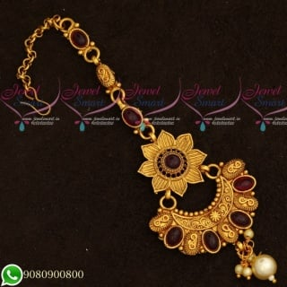 T19550 Maang Tikka Designs Floral Kemp Stones Gold Plated Jewellery Hair Accessory