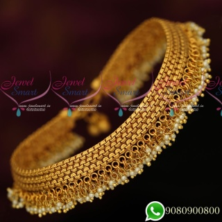 P19743 Anklets Payal Pearl Danglers Matte Gold Polished Fashion Jewellery Designs
