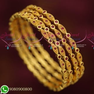 B19729 Latest Designs Traditional Bangles 4 Pieces Set AD Stones Imitation Jewellery Collections Online