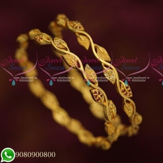 B19731 New Leaf Design Daily Wear Gold Covering AD Stone Bangles Collections Online