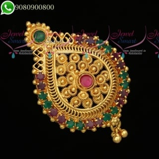 H19777 Pendant Hair Choti Rakodi Gold Plated Jewellery Accessory Dual Purpose