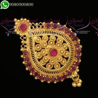H19778 Pendant Hair Choti Rakodi Gold Plated Jewellery Accessory Dual Purpose