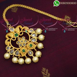 Maang Tikka Chutti Polki Stones Pearl Jewellery Online T19992