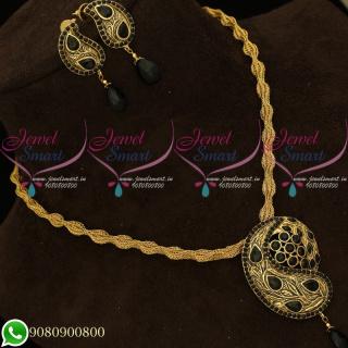 Pendant Set Black Antique Gold Plated Twisted Chain Mango Design PS20113