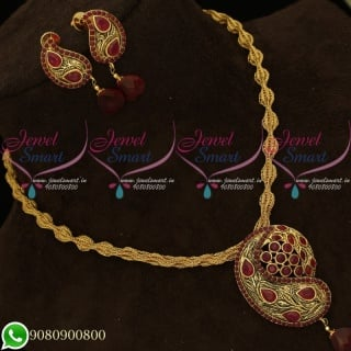 Pendant Set Ruby Antique Gold Plated Twisted Chain Mango Design PS20114