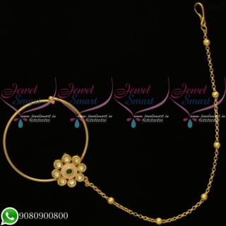 Bridal Nose Ring With Chain Traditional Imitation Jewellery Online N20125G