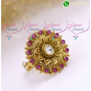 Ruby Kundan Finger Rings Rotating Front Design Antique Gold Plated F20167