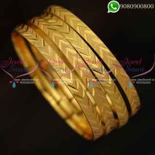 Gold Covering Bangles 4 Pcs Set Regular Wear Imitation Jewellery B20145