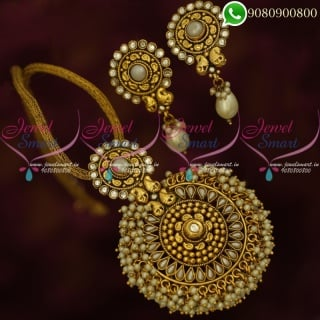 Antique Gold Plated Pendant Set Pearl Danglers Rope Chain Offer Price PS20312