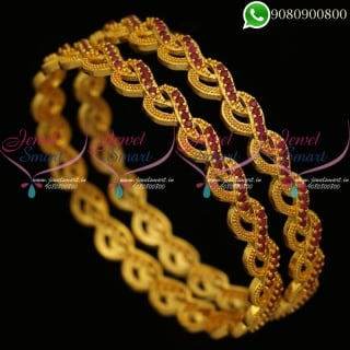 Gold Plated Bangles Stylish Design Artificial Jewellery Collections B20296
