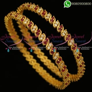 Gold Plated Bangles Traditional Design Artificial Jewellery Collections B20299