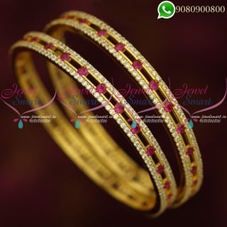 American Diamond Stone Bangles White Pink Magenta Stylish Jewellery B20400