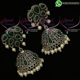 German Silver Jewellery Oxidised Green Stones Jhumki Earrings Online J20425